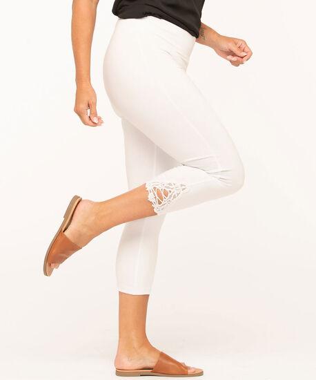 White Lace Trim Capri Legging, White, hi-res