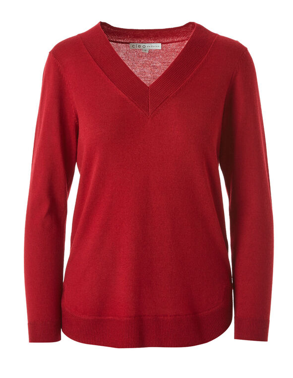 Red Recycled Fabric Sweater, Red, hi-res