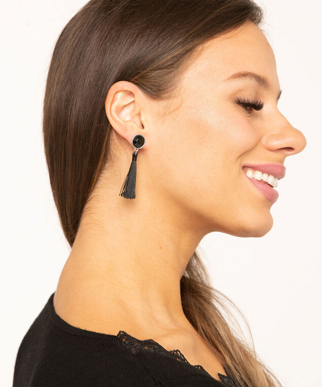 Silver & Black Tassel Earring 6-Pack, Silver/Black/Golden, hi-res