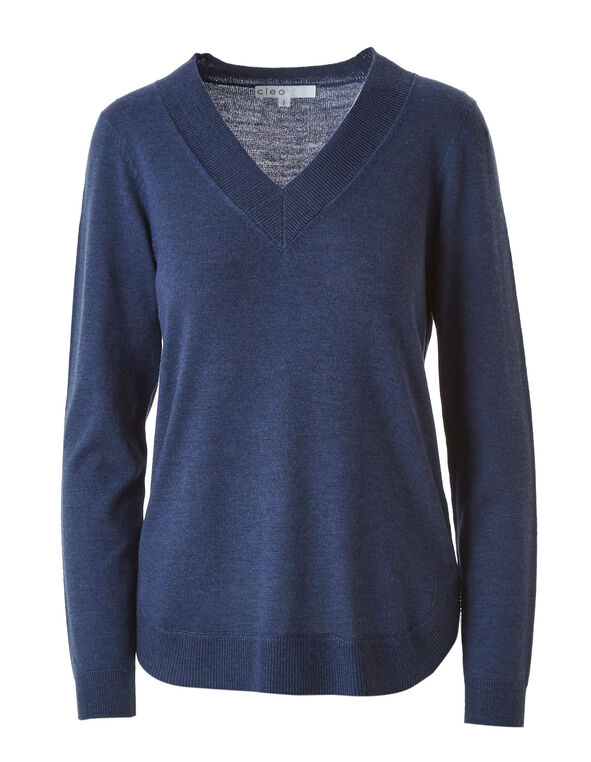 Blue Recycled Fabric Pullover, Blue, hi-res
