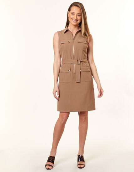 Collared Safari Dress, Camel, hi-res