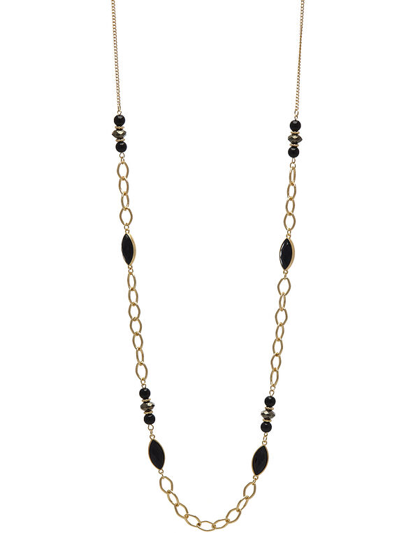 Long Gold Beaded Chain Necklace, Black/Gold, hi-res