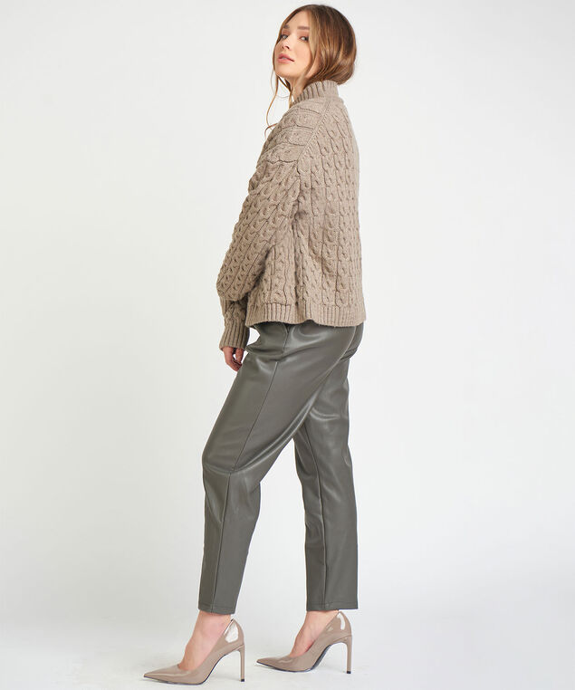 Dex Black Tape Cable Knit Sweater, Taupe