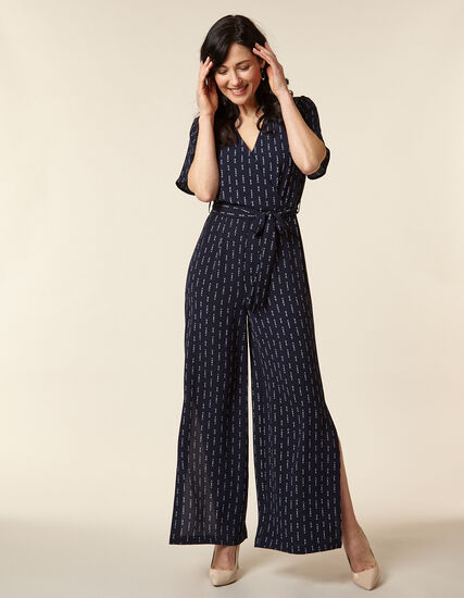 Navy Printed Woven Crepe Jumpsuit, Navy, hi-res