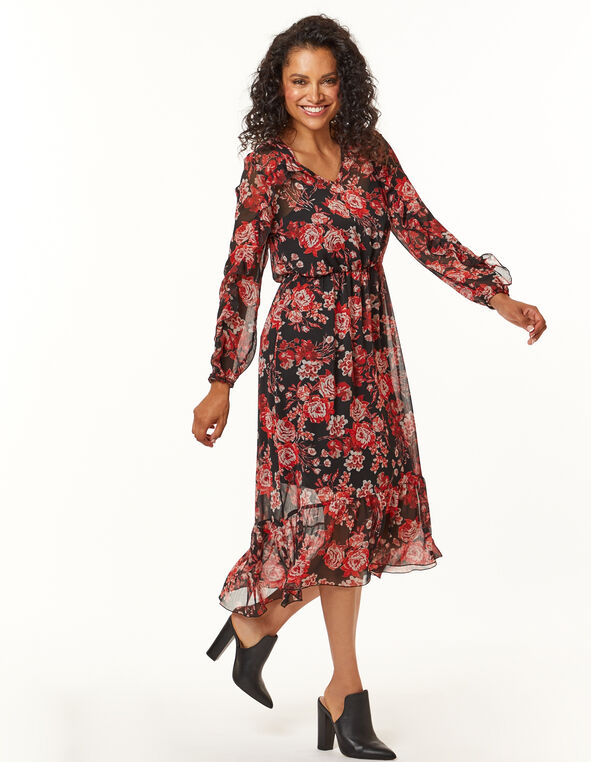 Red Floral Prairie Dress, Black/Red