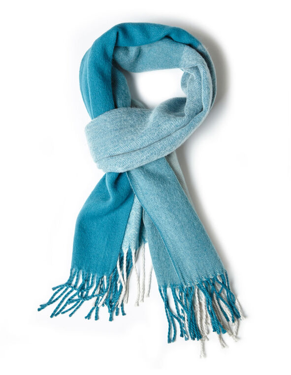 Turquoise Brushed Twill Scarf, Turquoise, hi-res