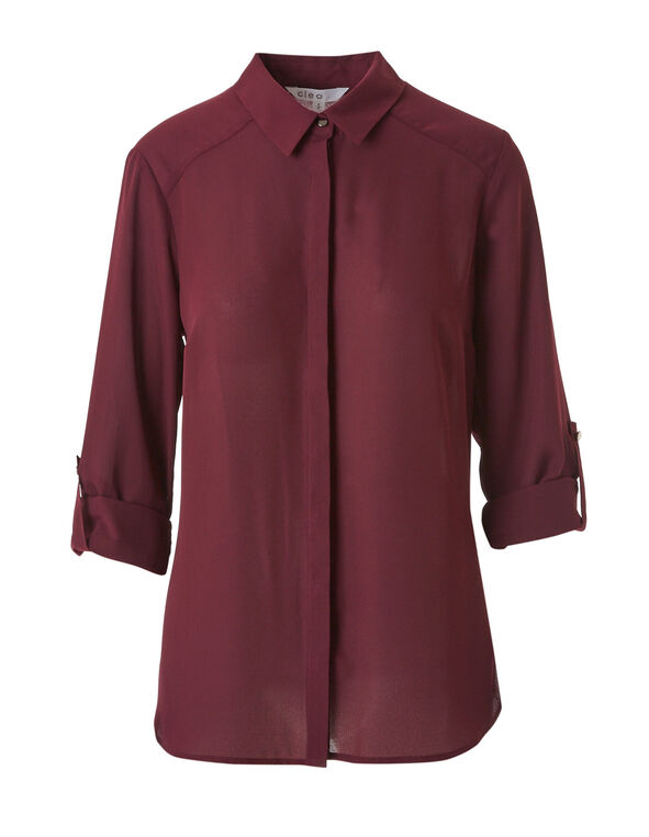 Wine Button Down Blouse, Wine, hi-res