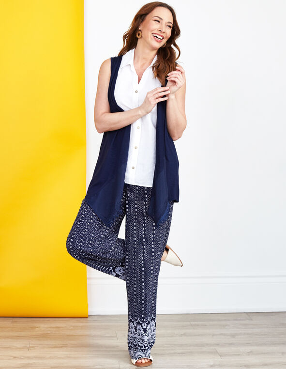 Blue Border Printed Pant, Navy, hi-res