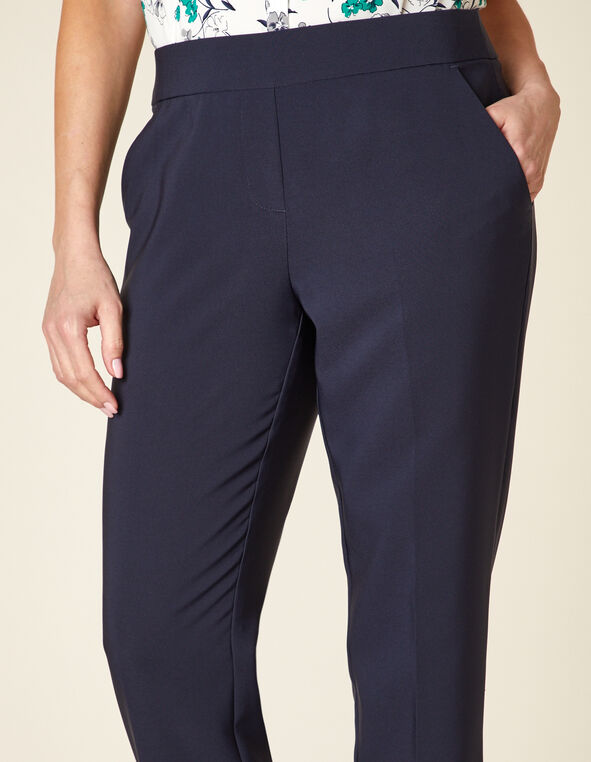 Navy Pull On Slim Ankle Pant, Navy