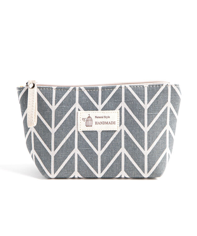 Printed Cotton Canvas Pouch, Grey Geometric