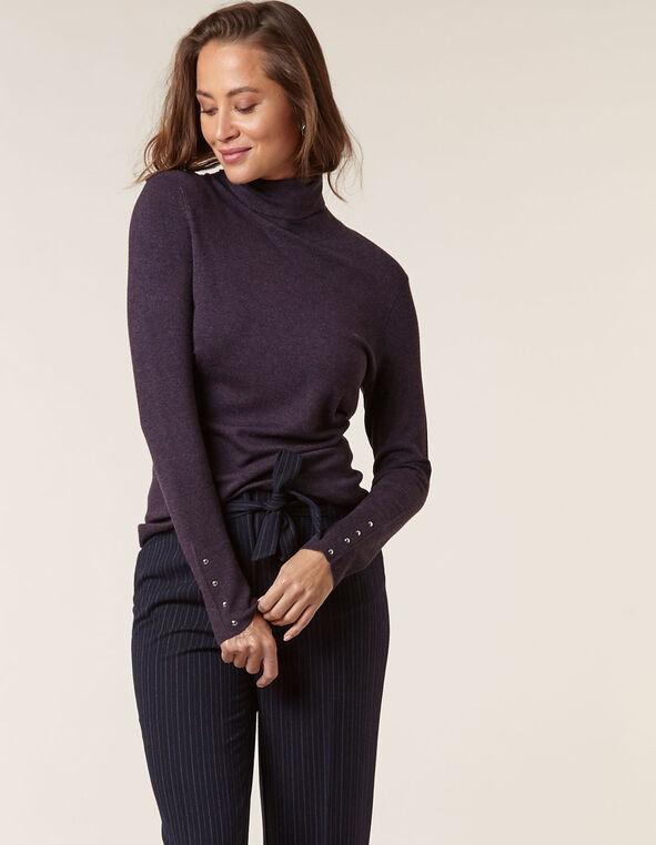 Purple Essential Turtleneck Sweater, Purple, hi-res
