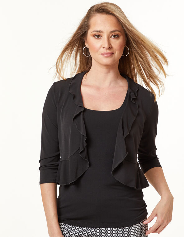 Ruffle Shrug, Black, hi-res