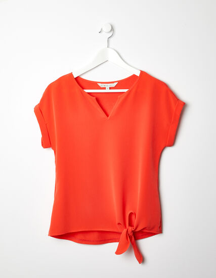 V-Neck Tie Front Top, Cajun/Orange, hi-res