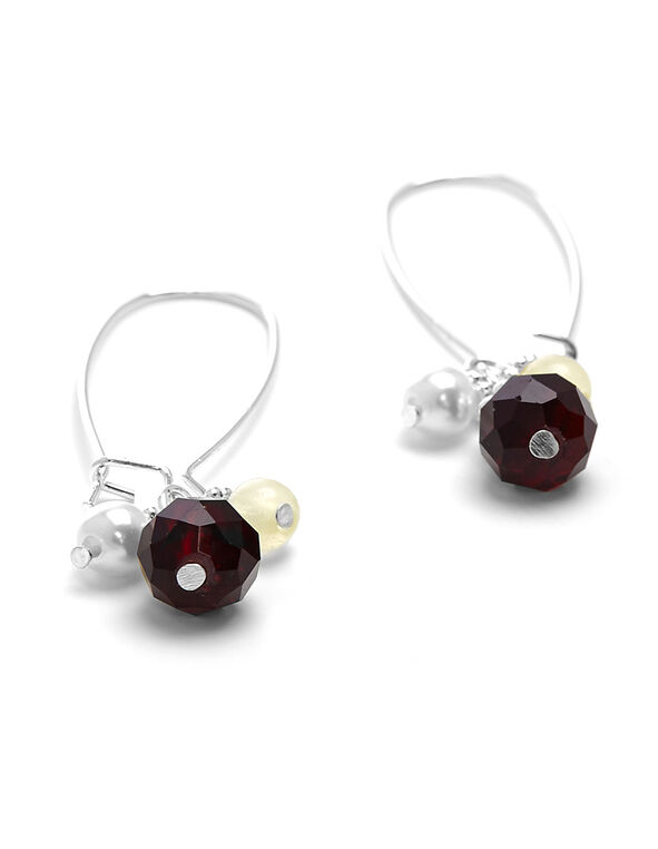 Red Beaded Cluster Earring, Red, hi-res