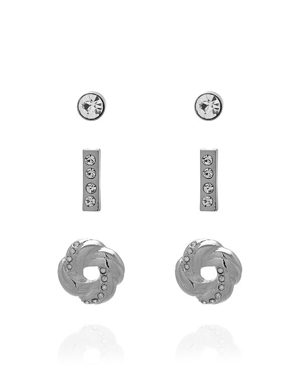 Silver Novelty Earring Trio Set, Silver, hi-res