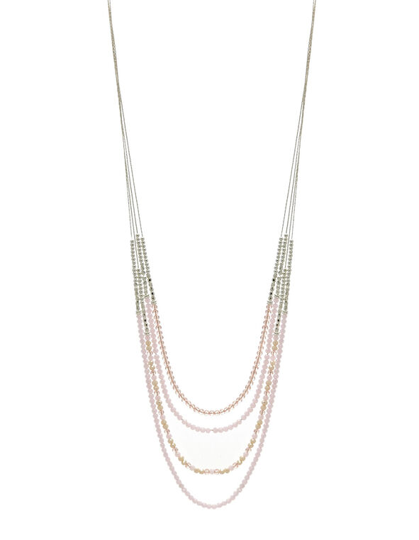 Pink Beaded Long Necklace, Pink, hi-res