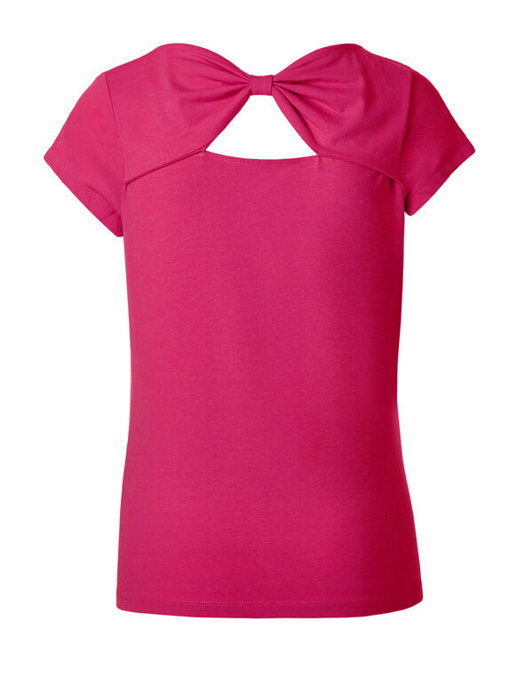 Hot Pink Bow Back Cotton Tee, Hot Pink, hi-res