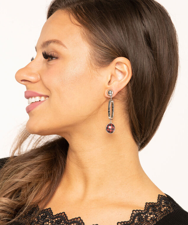 Silver & Buffalo Check Earring 6-Pack, Silver/Black/Red, hi-res