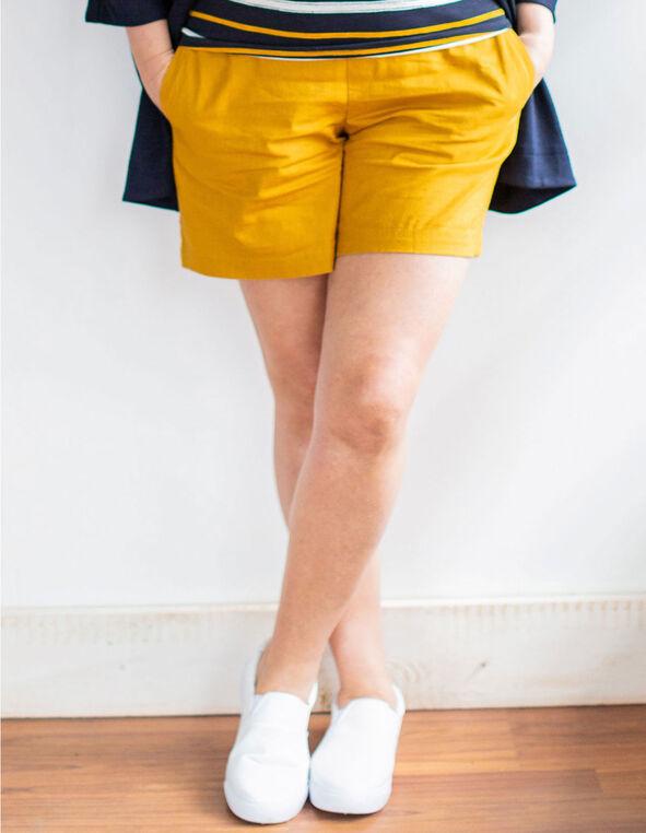 Ochre Linen Blend Short, Ochre, hi-res