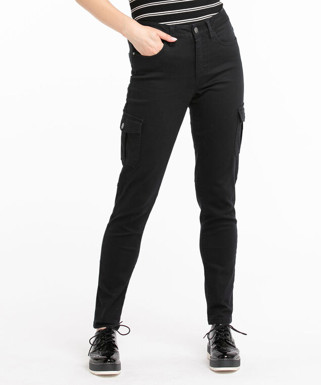 Twill Slim Leg Cargo Pant, Black