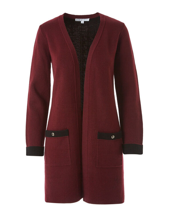 Merlot Double Knit Sweater Coat, Merlot, hi-res