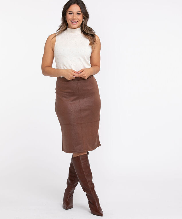 Camel Coated Scuba Skirt, Camel