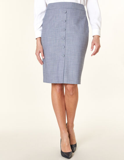 Navy Crosshatch Pencil Skirt, Navy, hi-res