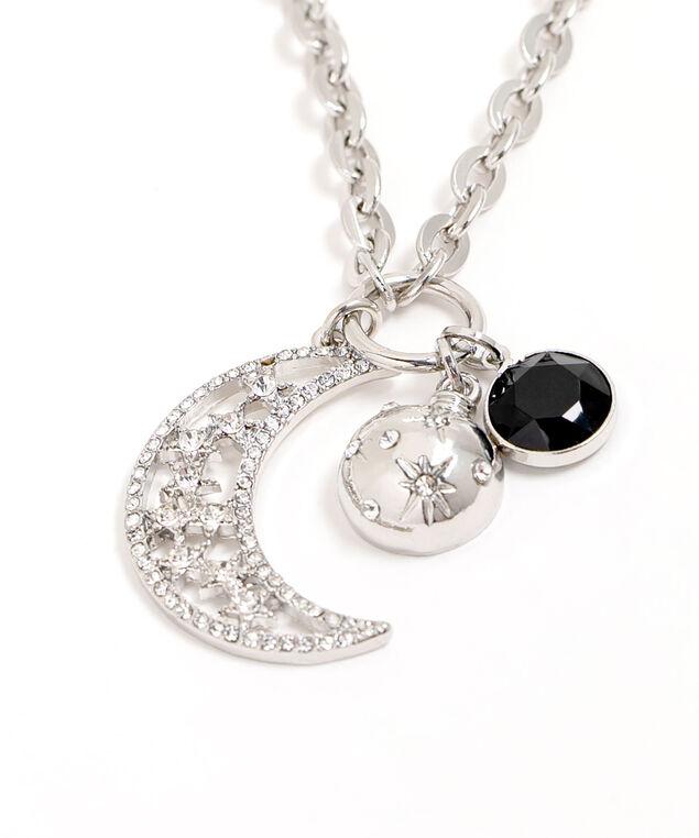 Long Night Sky Pendant Necklace, Silver