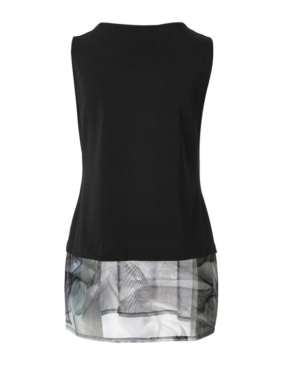Black Mesh Hem Printed Top, Black, hi-res