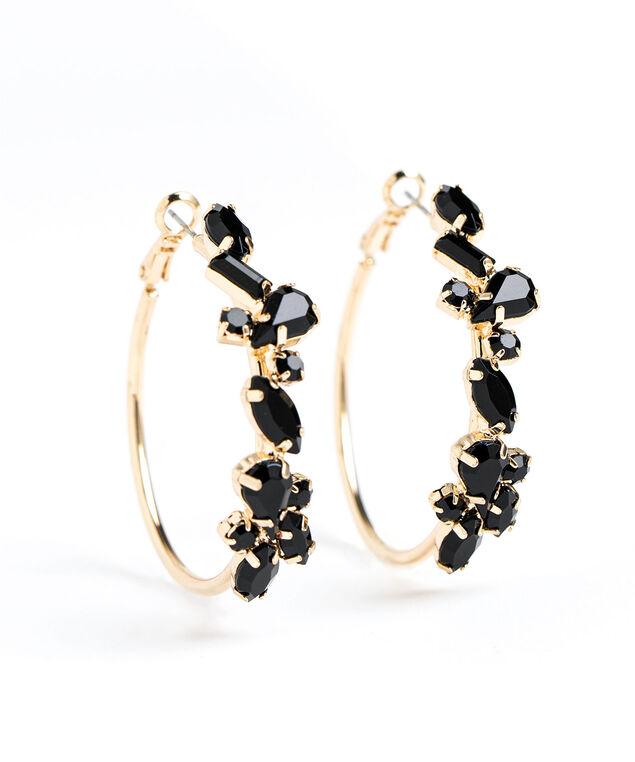 Black Crystal Hoop Earring, Gold
