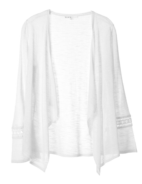 White Crochet Sleeve Cardigan, White, hi-res