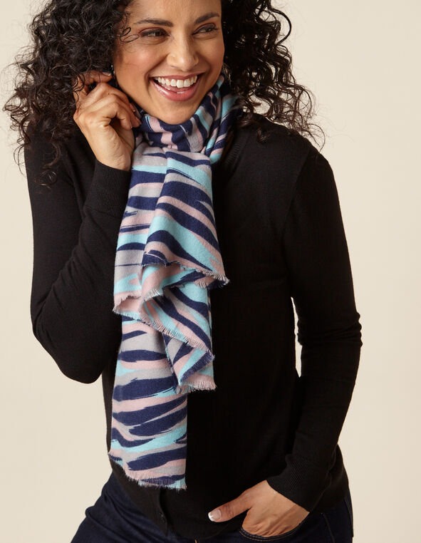 Pastel Animal Print Scarf, Grey/Navy/Blush, hi-res