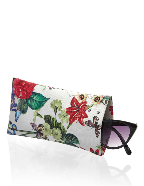Floral Printed Sunglasses Case, White, hi-res