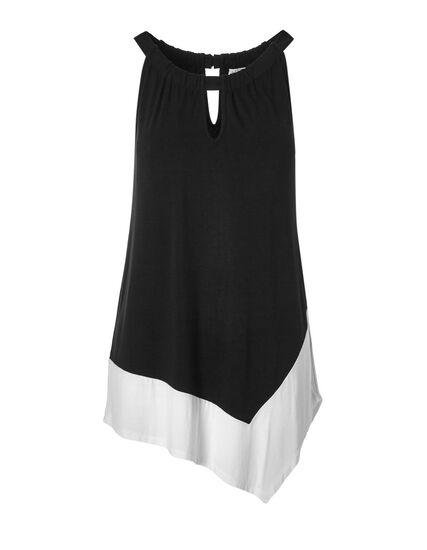 Black Halter Asymmetrical Top, Black/White, hi-res