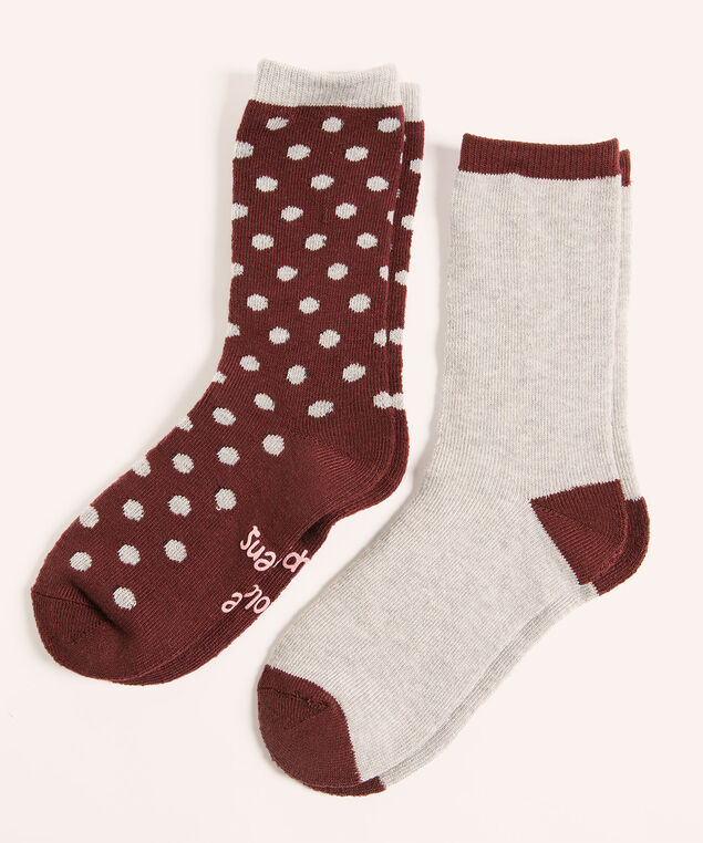 Super Soft Chocolate Sock 2-Pack, Mulberry/Grey, hi-res