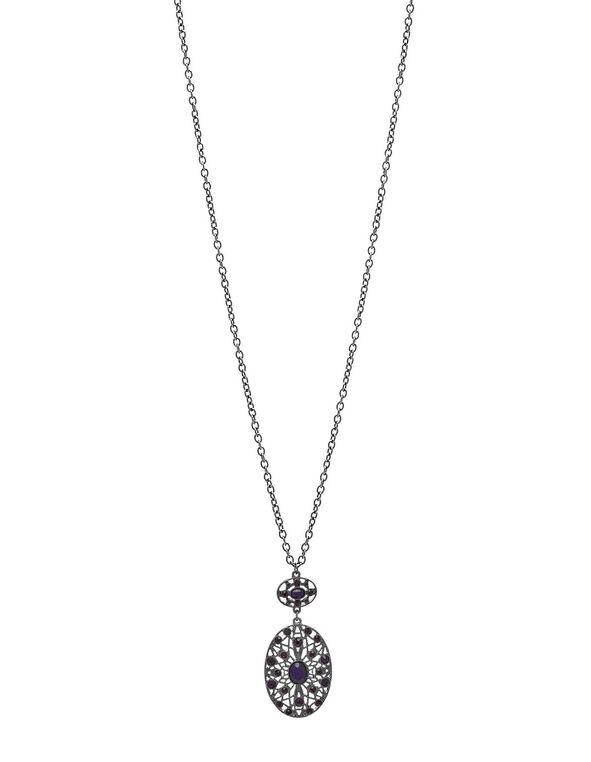 Long Purple Pendant Necklace, Purple, hi-res