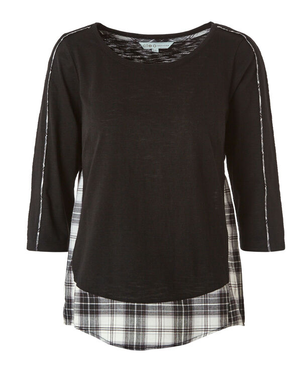 Black Plaid Fooler Top, Black, hi-res