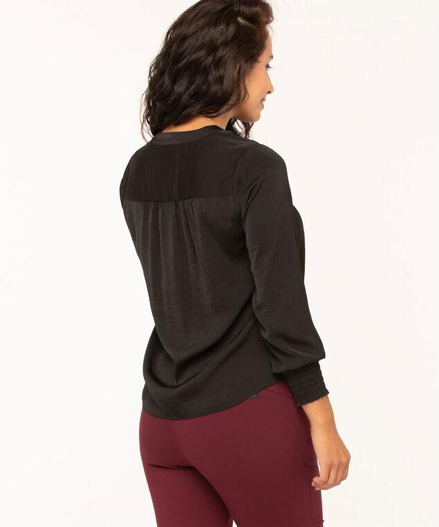 Black V-Neck Long Sleeve Blouse, Black, hi-res