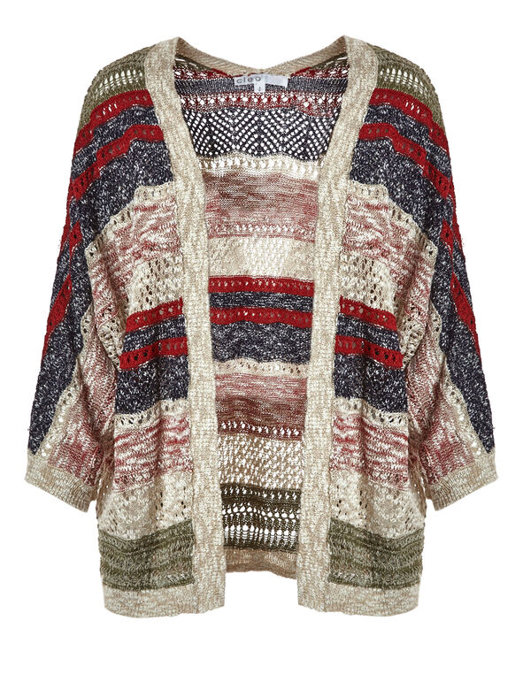 Multi-Striped Open Stitch Cardigan, Red/Blue/Neutral, hi-res