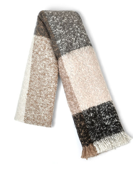 Neutral Tweed Colour Block Scarf, Neutral, hi-res