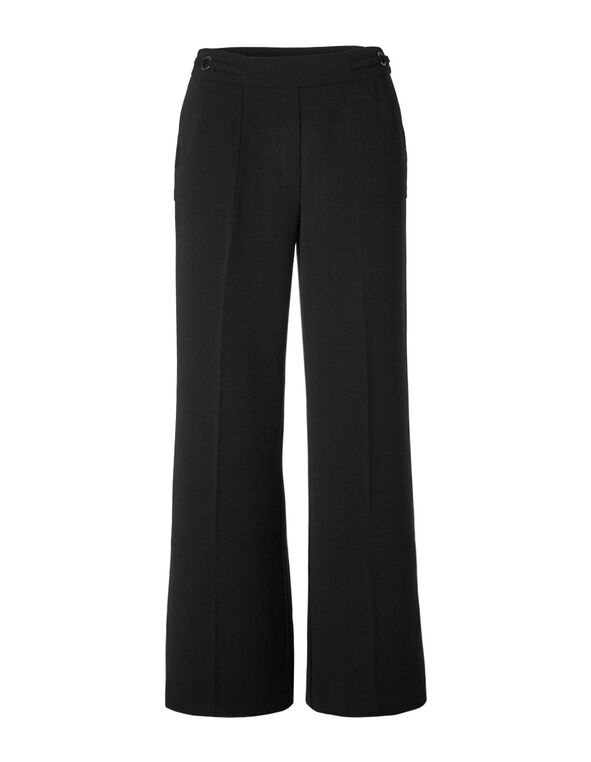 Black Crepe Wide Leg Trouser, Black, hi-res