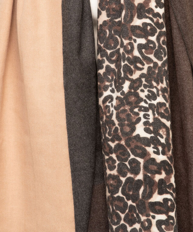 Animal Print Colour Block Scarf, Brown/Camel/Sand, hi-res