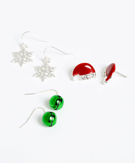 Festive Trio Earring Set, Silver/Red/Green, hi-res