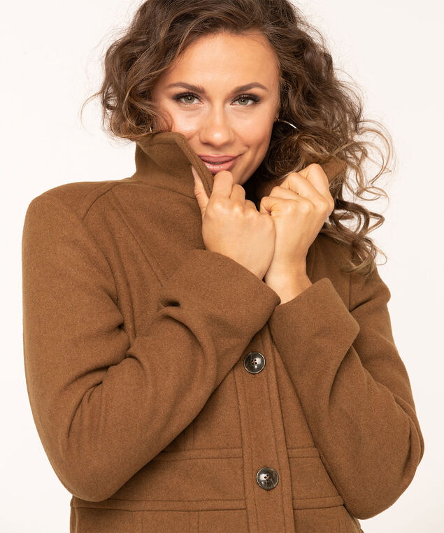 Camel Button Front Seamed Coat, Camel, hi-res