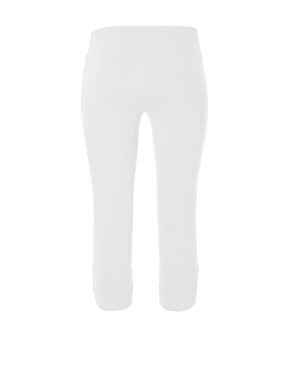 White Cotton Ruched Capri, White, hi-res