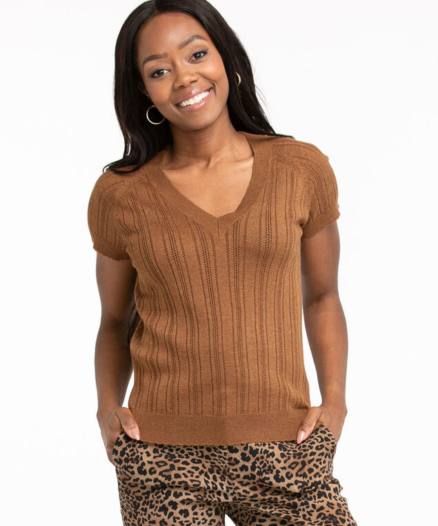 Pointelle Knit Short Sleeve Sweater, Cider Mix