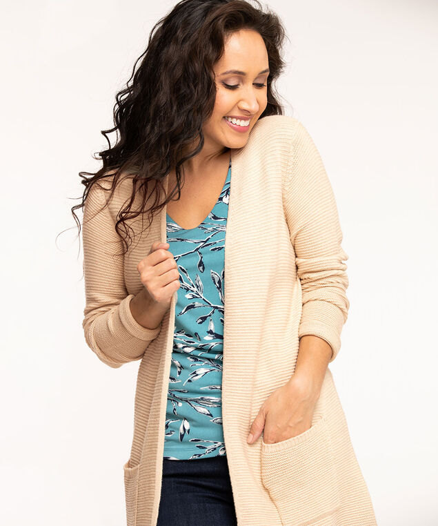 Long Open Ottoman Cardigan, Tan