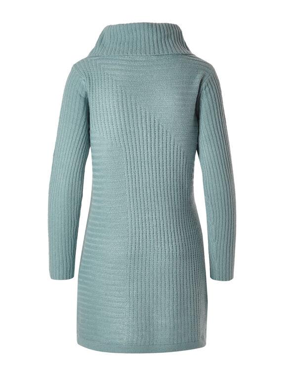 Teal Rib Knit Cowl Neck Sweater, Light Teal, hi-res