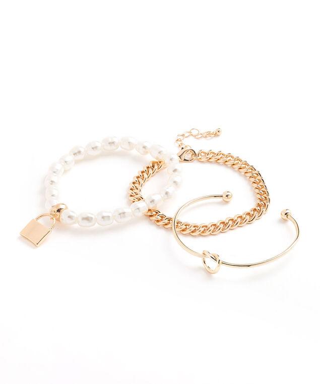 Pearl & Gold Charm Bracelet 3-Pack, Gold