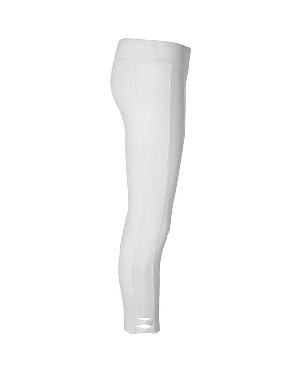 White Cotton Capri Legging, White, hi-res
